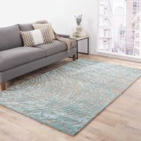 Imprint Handmade Abstract Gray/ Teal Area Rug (5' X 8') - 5' x 8'
