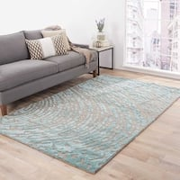Imprint Handmade Abstract Gray/ Teal Area Rug - 5' x 8'