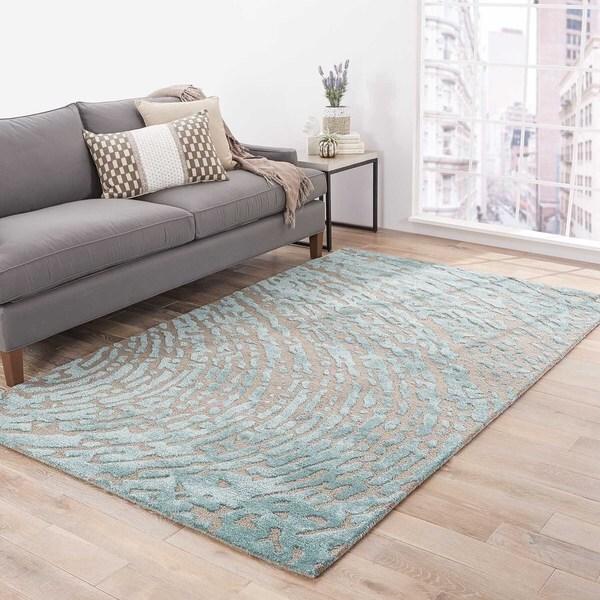 Shop Imprint Handmade Abstract Gray Teal Area Rug 8 X 10 8 X