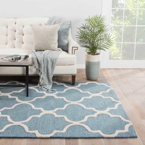 Portland Handmade Trellis Blue/ White Area Rug (2' X 3') - 2' x 3'