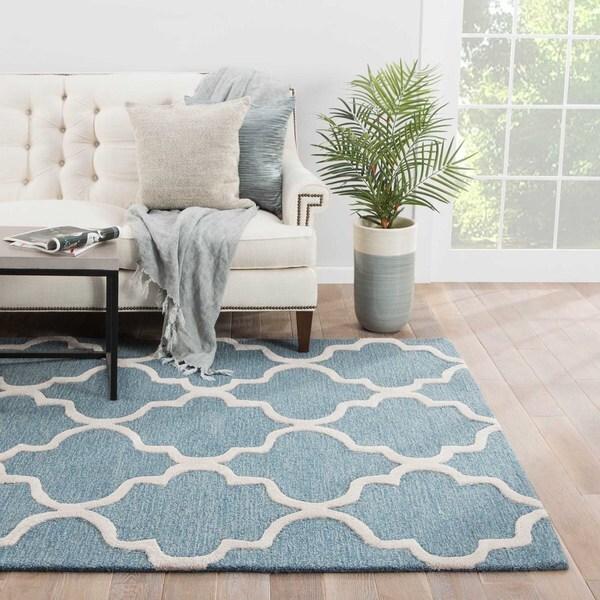 Portland Handmade Trellis Blue/ White Area Rug (5' X 8') - 5' x 8'