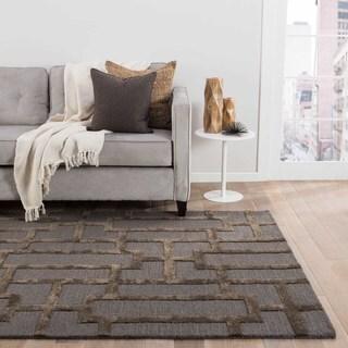 Handmade Geometric Pattern Blue/ Brown Wool/ Art Silk Rug (9'6 x 13'6)