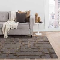 Alden Handmade Trellis Gray/ Brown Area Rug - 8 x 11