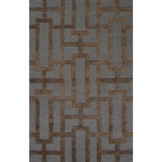 Handmade Geometric Pattern Blue/ Brown Wool/ Art Silk Rug (2 x 3)