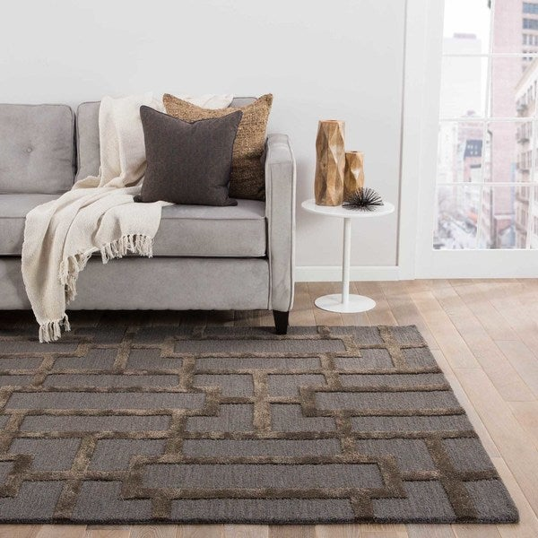 Alden Handmade Trellis Gray/ Brown Area Rug (5' X 8') - 5' x 8'