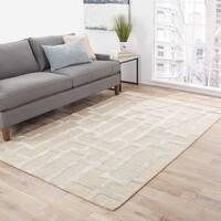 """Alden Handmade Trellis Beige/ Silver Area Rug (3'6"""" X 5'6"""") - 3'6 x 5'6"""