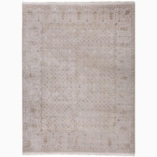 Hand-Made Oriental Pattern Gray/ Ivory Wool/ Silk Rug (9x12)