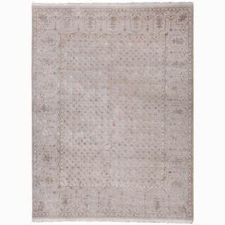 Hand-Made Oriental Pattern Gray/ Ivory Wool/ Silk Rug (2x3)