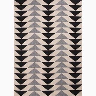 Maverick Indoor/ Outdoor Geometric Black/ Cream Area Rug (2' X 3')