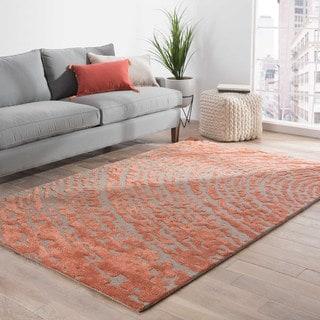Hand-Made Red/ Gray Wool/ Art Silk Textured Rug (9x12)