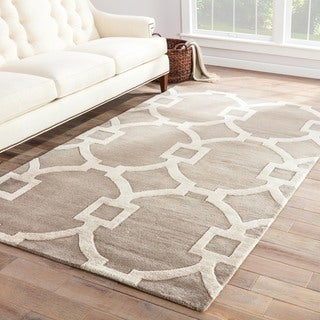 Hand-Made Geometric Pattern Gray/ Ivory Wool/ Art Silk Rug (8X11)