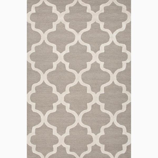 Gray Area Rug 8x11: Hand-Made Geometric Pattern Gray/ Ivory Wool Rug (8X11