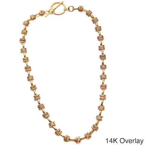 Simon Frank 14k Gold Overlay 20-inch Cross Link Heavy Aztec Chain Necklace