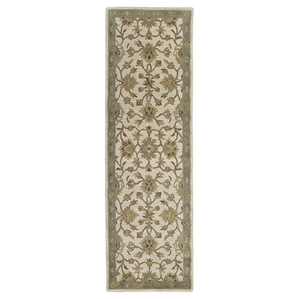 "'Lawrence' Beige Kashan Hand-tufted Traditional Wool Rug (2'3 x 7'6) - 2'3"" x 7'6"""