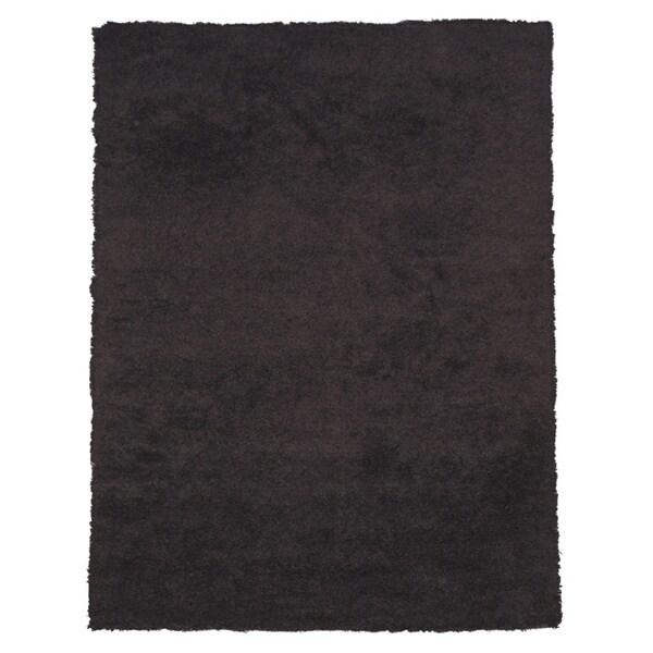 Shop Handwoven Wool & Viscose Black Contemporary Solid