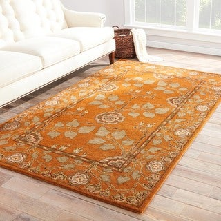 Handmade Arts and Craft Pattern Orange/ Green Wool Rug (8 x 10)