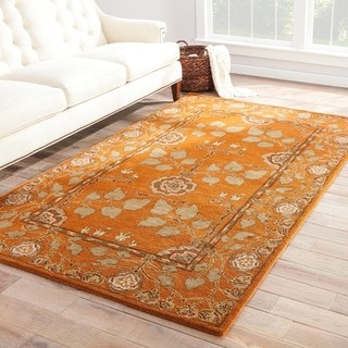 Juliette Handmade Floral Orange/ Taupe Area Rug (8' X 10')