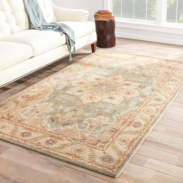 Maison Rouge Patricia Handmade Medallion Beige/ Blue Area Rug - 9' x 12'