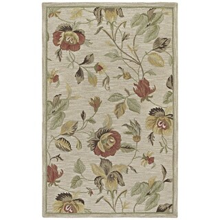 Lawrence Oatmeal Floral Hand-tufted Transitional Wool Rug - 3' x 5'