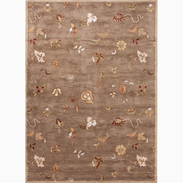 Shop Yves Handmade Floral Taupe Multicolor Area Rug 8 X