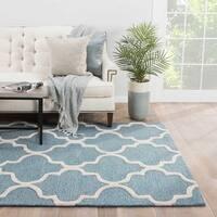 "Portland Handmade Trellis Blue/ White Area Rug (3'6"" X 5'6"")"
