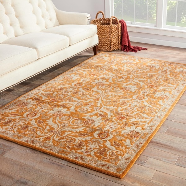 Ciresi Handmade Damask Orange Multicolor Area Rug 9 X