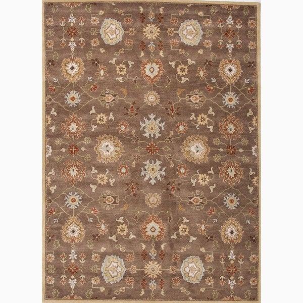 Savani Handmade Floral Brown/ Multicolor Area Rug (8' X 10')
