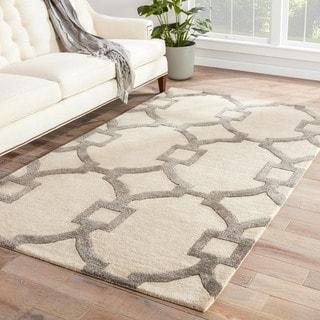 Handmade Geometric Pattern Ivory/ Gray Wool/ Art Silk Rug (9'6 x 13'6)