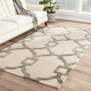 Handmade Geometric Pattern Ivory/ Gray Wool/ Art Silk Rug (2 x 3)
