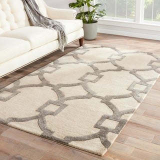 Handmade Geometric Pattern Ivory/ Gray Wool/ Art Silk Rug (5 x 8)
