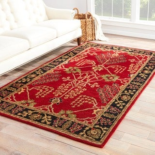 Handmade Arts and Craft Pattern Red/ Black Wool Rug (5 x 8)