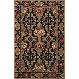 Croix Handmade Damask Black/ Red Area Rug (8' X 10')