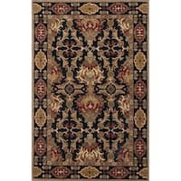 Croix Handmade Damask Black/ Red Area Rug (8' X 10') - 8' x 10'