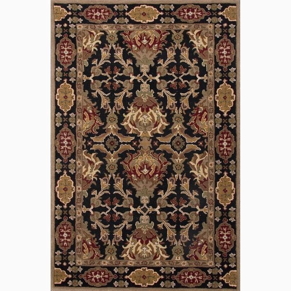 Croix Handmade Damask Black/ Red Area Rug (2' X 3') - 2' x 3'