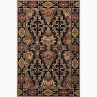 Croix Handmade Damask Black/ Red Area Rug - 2' x 3'