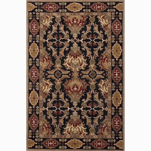 Croix Handmade Damask Black/ Red Area Rug (5' X 8') - 5' x 8'
