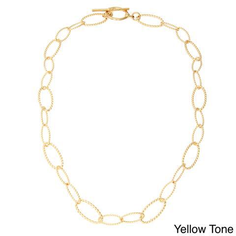 Simon Frank Apollo Link 14k Gold or Platinum based Rhodium Overlay Necklace