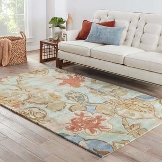 Handmade Floral Pattern Blue/ Red Wool/ Art Silk Rug (8 x 10)