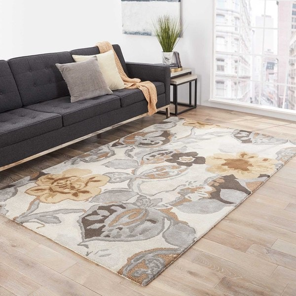 """Clemente Handmade Floral Multicolor/ White Area Rug (9' X 12') - 8'10"""" x 11'9"""""""