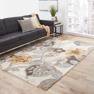 Clemente Handmade Floral White/ Multicolor Area Rug (9' X 12')