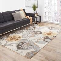 Clemente Handmade Floral Multicolor/ White Area Rug (9' X 12') - Ivory/Grey - 9' x 12'