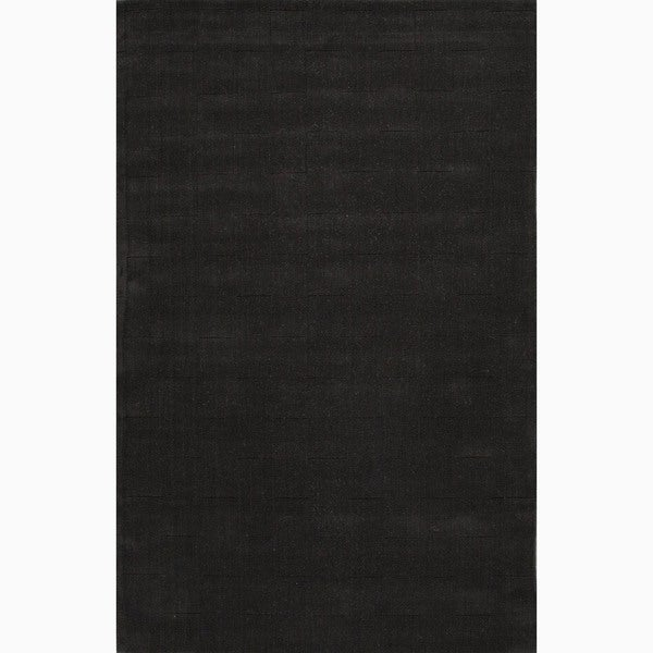 Hand-Made Black Wool Textured Rug (3.6X5.6)