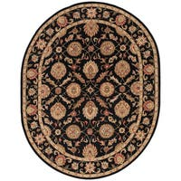 Freya Handmade Floral Black/ Red Area Rug (8' X 10') Oval - 8' x 10'
