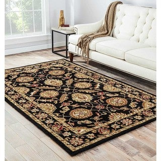 Freya Handmade Floral Black/ Red Area Rug (5' X 8')
