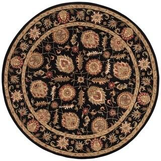 Freya Handmade Floral Black/ Red Area Rug (10' X 10') - 10' x 10' Round