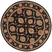 Freya Handmade Floral Black/ Red Area Rug (10' X 10')