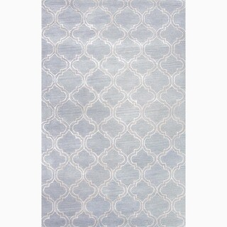 Hand-Made Blue/ Ivory Wool/ Art Silk Durable Rug (8X11)