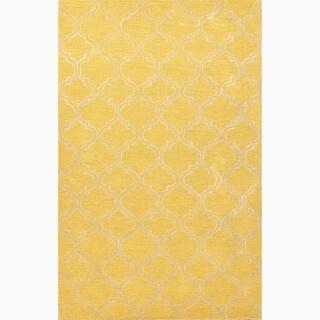 Handmade Yellow/ Ivory Wool/ Art Silk Durable Rug (2 x 3)