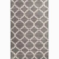 Grant Handmade Trellis Gray/ White Area Rug (5' X 8') - 5' x 8'