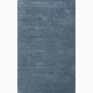 High Quality Handmade Solid Pattern Contemporary Blue Wool/ Art Silk Rug (5u0027 X 8u0027)